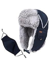 SIGGI Real/Fake Fur Trapper Hat Windproof Night-Reflective-Stripes Mask Unisex