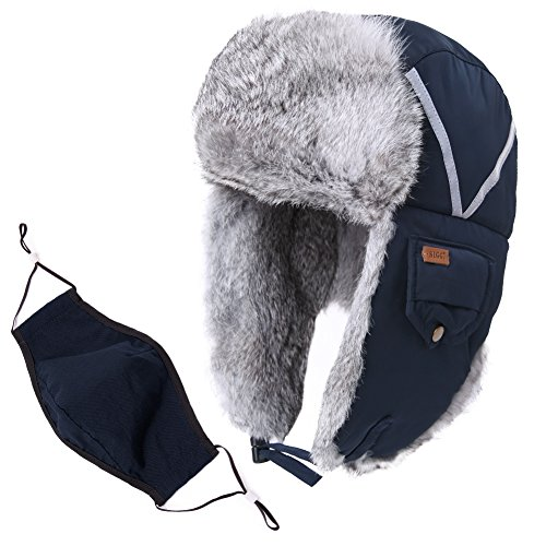 Mens Womens Rabbit Fur Winter Hunting Waterproof Bomber Trapper Flaps Cap Ushanka Russian Hat Navy