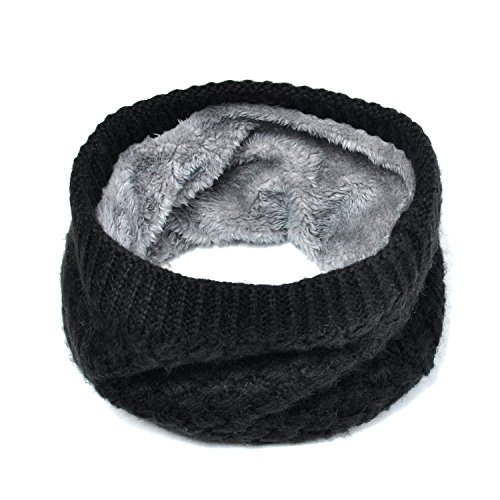 Lo Shokim Infinity Scarf Circle Loop Knit Neck Warmer Winter Warm Scarf Neck Gaiter for Men Women, Black