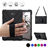 Samsung Galaxy Tab A 10.1 With S Pen [SM-P580/SM-P585] Shock-proof Case, BRAECN [Heavy Duty] Three Layer Full-body Rugged Protective Case Built-In Kickstand+ Hand Grip Strap+Shoulder strap (BLACK)