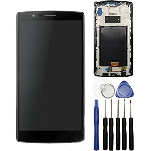 LSHtech LCD Display Touch Screen Digitizer Assembly for LG G4 with Frame + Tools (black)