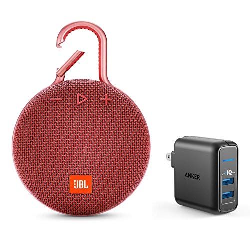 JBL Clip 3 Portable Bluetooth Wireless Speaker Bundle with Dual Port 24W USB Travel Wall Charger (Red)