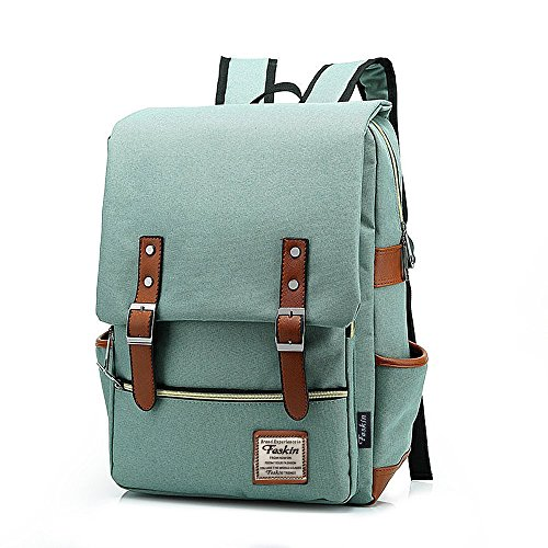 Unisex Professional Slim Business Laptop Backpack, Feskin Fashion Casual Durable Travel Rucksack Daypack (Waterproof Dustproof) with Tear Resistant Design for Macbook, Tablet - Light Green (Laptop Carrying Case Design)