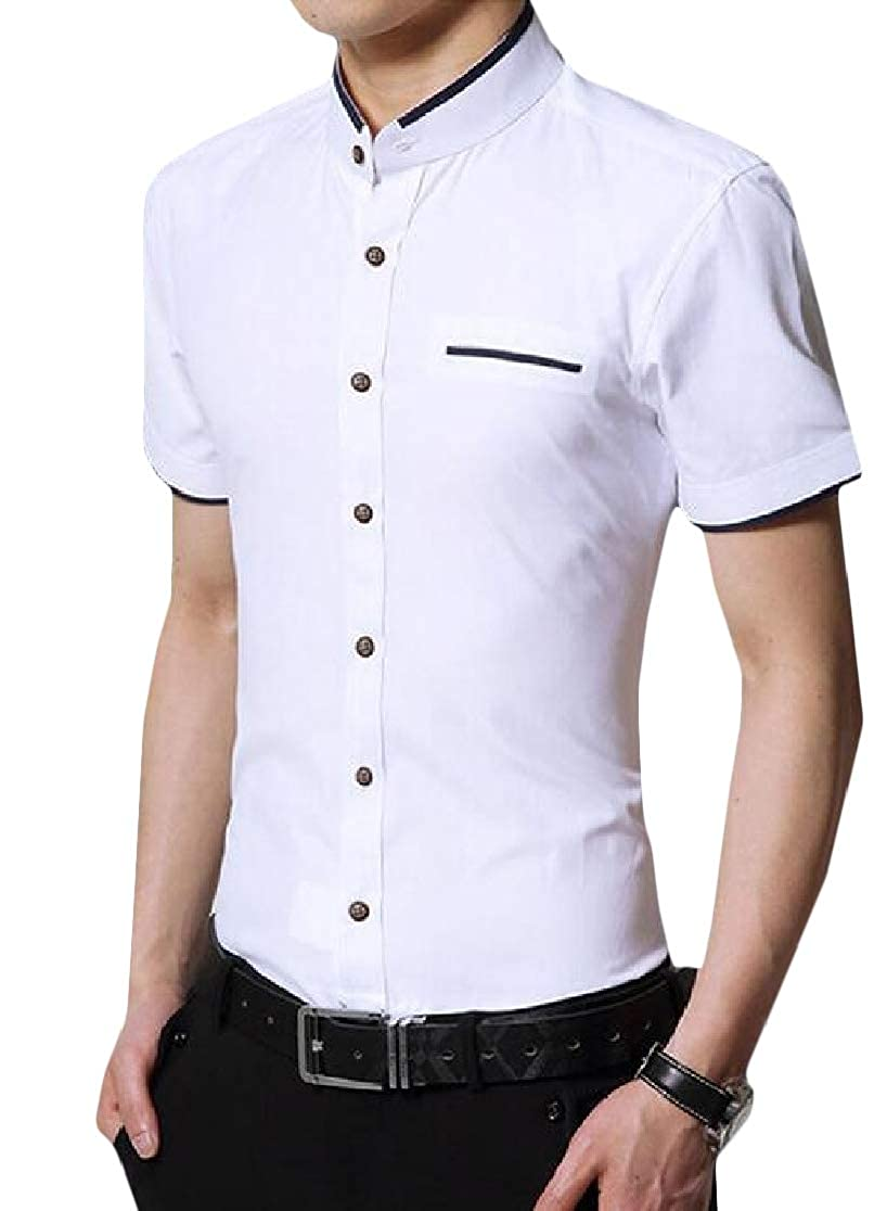 Joe Wenko Mens Button-Down Business Short Sleeve Vogue Stand Collar Shirts
