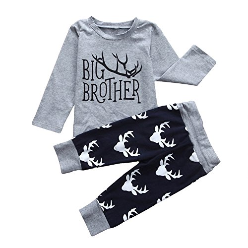 Infant And Toddler Matching Outfits (GRNSHTS Baby Boys 2 Style Deer Print Pants Set Christmas Brother Suit (100 / 2-3 Years, Big brother))
