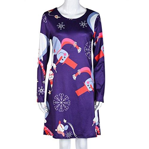 OVERMAL Robe imprimée de Noël pour femme