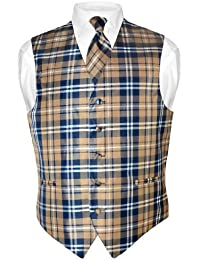 Men's Plaid Design Dress Vest & NeckTie Navy Brown White Neck Tie Set