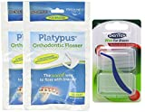 Platypus Ortho Flosser (2 Packs of 30), & Dentek Wax for Braces