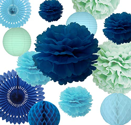 AVAbay 18 pcs Hanging Party Tissue Decoration Set for Birthday, Baby Shower, Wedding-Blue Shades Décor, Paper Flowers Pom Poms, Lanterns, Honeycombs, Fans-Navy, Baby Blue and Mint + Free Ebook -