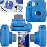 Fujifilm Instax Mini 9 Instant Camera COBALT BLUE + Fuji INSTAX Film (40 Sheets) + Accessories Kit Bundle + Custom Case with Strap + Assorted Frames + Photo Album + 60 Colorful Sticker Frames + MORE
