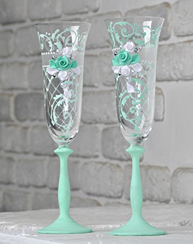 Magik Life Wedding Champagne Toasting Flutes for Party, Wedding Accessories, Glasses for Bride and Groom, banquets. Glasses for His and Hers, Wedding décor Ideas (Mint, Ornament with a mesh) Set of 2