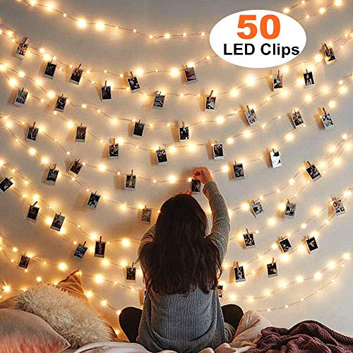 MZD8391 50 Photo Clips String Lights/Holder, Indoor Fairy String Lights for Hanging Photos Pictures Cards and Memos, Ideal Gift Photo Clip Holder (Warm White) (Card Stand Holiday Holder)