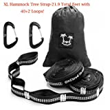 OnCloud Hammock Tree Straps 40+2 Loops 21 FT Long 2 Pack with Wiregate Carabiners