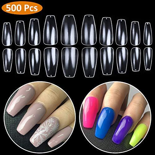 Coffin Nails Full Cover - Short Fake Nails Clear Ballerina False Nail BTArtbox 500 Pcs Acrylic Nail Tips, 10 Sizes ()
