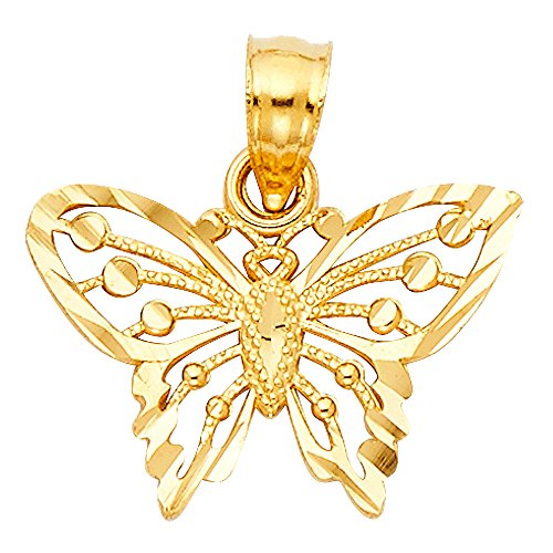 (14k Yellow Gold Butterfly Pendant)