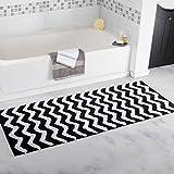 Lavish Home 100% Cotton Chevron Bathroom Mat - 24x60 inches - Black