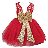 2017 Girls Bowknot Lace Princess Skirt Summer Sequins Dresses for Baby Toddlers Kids Red/3-4years