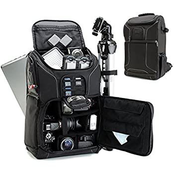 Digital SLR Camera Backpack with Padded Custom Dividers , Tripod Holder , Laptop Compartment , Rain Cover and Accessory Storage by USA Gear for DSLR Cameras for Nikon , Canon , Sony , Pentax and More