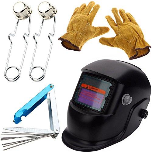 Ginode Auto Darkening Welding Helmet Adjustable MIG TIG ARC Welding Mask with Leather Safety Protective Gloves, Flint Spark Torch Igniter, 13 in 1 Torch Tip Cleaner Tools Welding Tip Cleaner