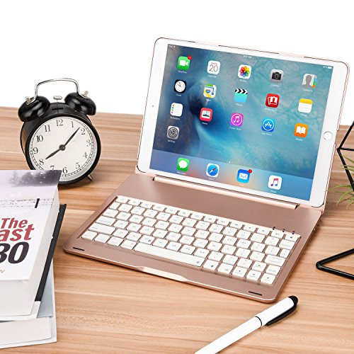 ONHI Bluetooth Wireless Keyboard Case for iPad Pro 10.5 Keyboard Case Aluminum Shell Smart Folio Case with 7 Colors Back-lit, Auto Sleep/Wake,Silent Typing (A1701/A1709)(Rose Gold) by ONHI (Image #6)
