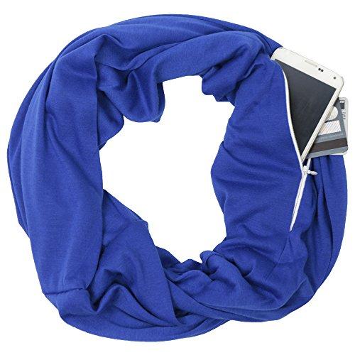 Royal Blue Infinity Scarf Womens Fashion Scarf Zipper Pocket, blue scarf, travel scarf - Pop Fashion