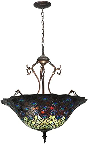 Meyda Tiffany 38159 Pendant, Mahogany Bronze Finish with Stained