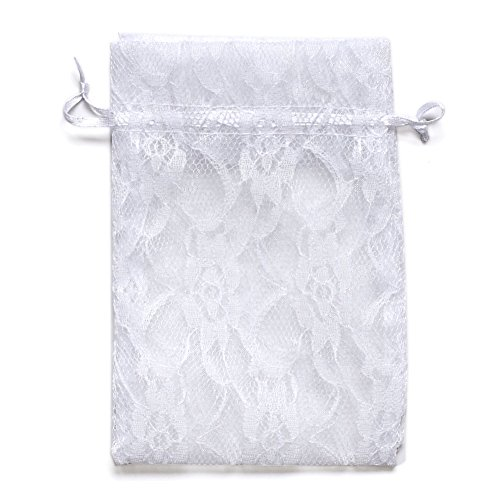 Ling's moment 50pcs White Lace Gift Bag Organza Drawstring favor Pouchse Wrap for Wedding Party Gift Favor Bags