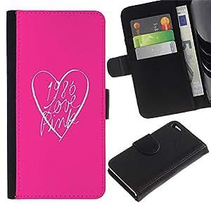 All Phone Most Case / Oferta Especial Cáscara Funda de cuero Monedero Cubierta de proteccion Caso / Wallet Case for Apple Iphone 4 / 4S // rosa mirada corazón texto limpio minimalista