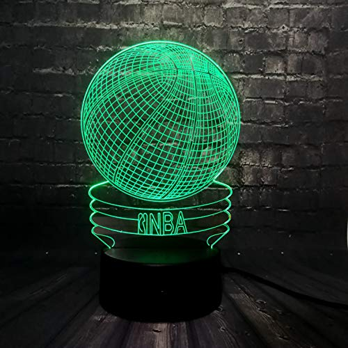 - NBA Basketball Ball Lamp for Boy Teen Sport Decorative Baby Bedroom Night Light Remote Control Table 3D LED Smart 7 Color Change USB Charge