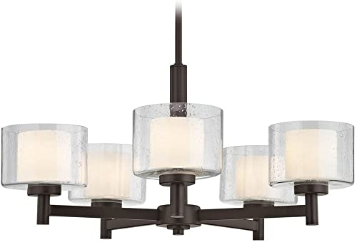 Modern Neuvelle Bronze 5 Light Chandelier with Satin White and Clear Seeded Glass