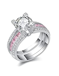 Newshe Jewellery Round Pink Cz 925 Sterling Silver Wedding Band Engagement Ring Sets Size 5-10