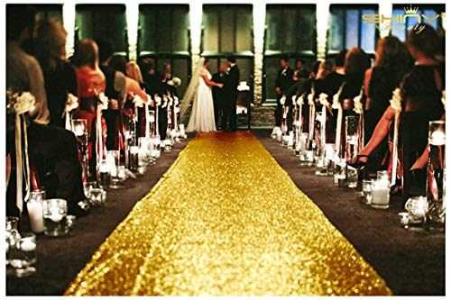 ShinyBeauty 3FTx15FT-Wedding Aisle Runner-Gold,Glitter Sequin Aisle Runner for Wedding Ceremony Party/Children Party Decoration