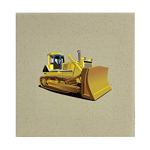 Style in Print Yellow Dozer Car Auto Cotton Canvas Stretched Natural Canvas Printed Canvas - 8