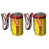 2x OmniCel ER34615 3.6V 19Ah Sz D Lithium Battery Wire Leads Utility Telematics