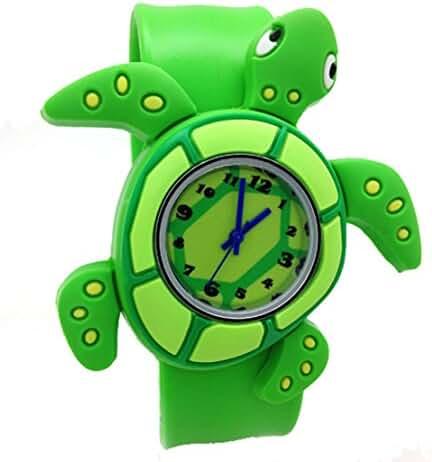 Cartoon Sea Turtle Unisex Kids Watch Water-resistant Sports Watch Bendable Rubber Strap Wrist Watch
