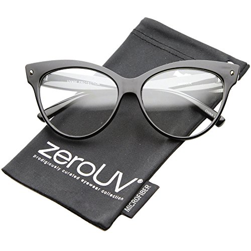 zeroUV - Womens Bold High Point Clear Lens Oversize Cat Eye Glasses 63mm - Best Sunglasses Warby Parker