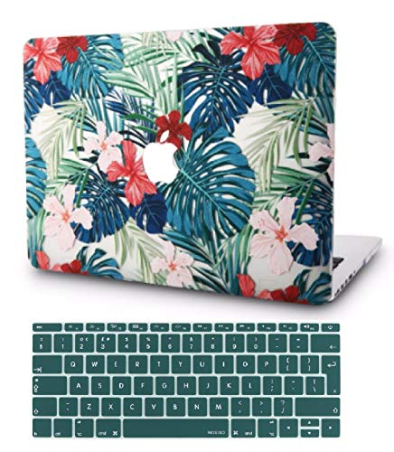 """KECC Laptop Case for MacBook Air 13"""" Retina (2020/2019/2018, Touch ID) w/Keyboard Cover Plastic Hard Shell Case A1932 2 in 1 Bundle (Palm Leaves Red Flower)"""