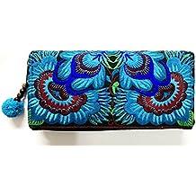 Wallet by WP Embroidery Sunflower Zipper Wallet Purse Clutch Bag Handbag Iphone Case Handmade for Women, Blue Wallet