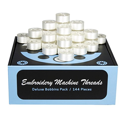 Prewound Bobbins - 144 Pieces of Polyester Thread Perfectly Match Brother Embroidery Machine Size A (156) + FREE Bonuses