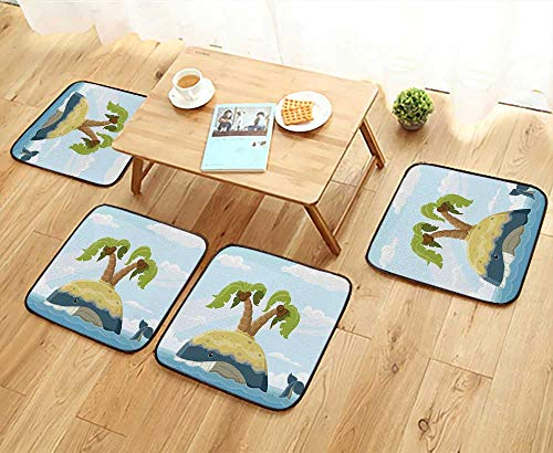 (Leighhome Elastic Cushions Chairs Whale with Island on His Back Palm Trees Clouds Kids Playroom Nursery Decor for Living Rooms W29.5 x L29.5/4PCS Set)