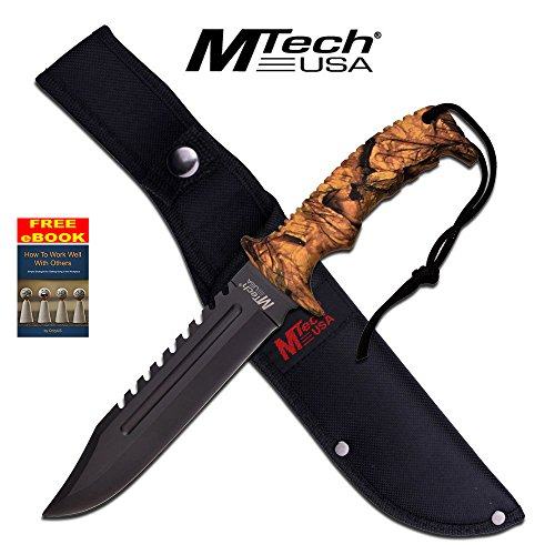 Camo Mtech (MTech Camo Fixed Blade Hunting Knife Knives W/Rubber Handle #20-57CA + free eBook by OnlyUS)