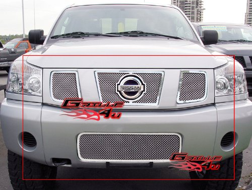 (Fits 04-07 Nissan Titan/Armada Stainless Mesh Grille Combo)