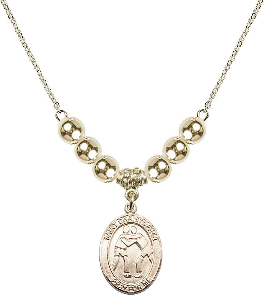 Gold Plated Necklace with 6mm Gold Filled Beads & Saint Christopher/Wrestling Charm. by F A Dumont