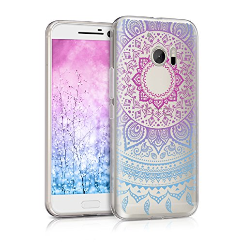 kwmobile TPU Silicone Case for HTC 10 - Crystal Clear Smartphone Back Case Protective Cover - Blue/Dark Pink/Transparent