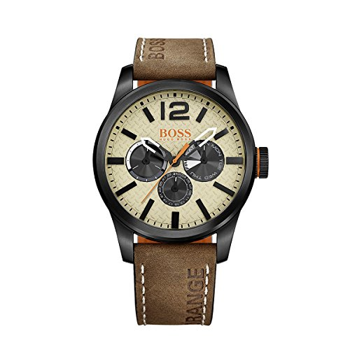 (BOSS Orange Men's Quartz Stainless Steel and Leather Casual Watch, Color:Brown (Model: 1513237))