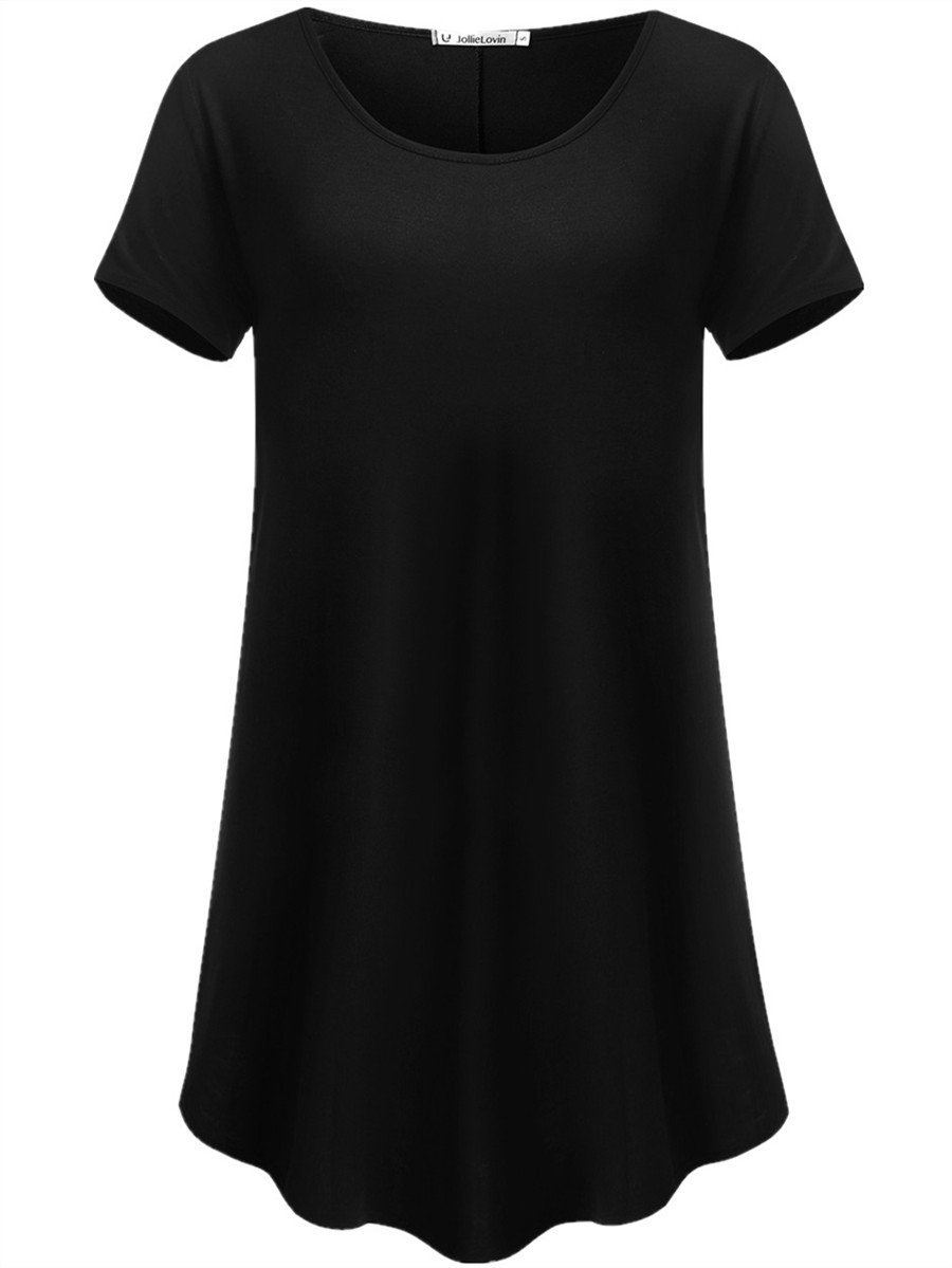 JollieLovin Women's Short Sleeve Loose Fit Flare Hem T Shirt Tunic Top (Black, XL (1X))