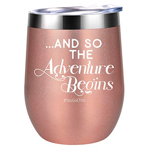 Funny Christmas, Stocking Stuffers, New Year Eve Party, Congratulations Wine Gifts for Women, Best Friends, BFF, Mom, Aunt, Sister, Coworkers, Her - And So The Adventure Begins - Coolife Wine Tumbler