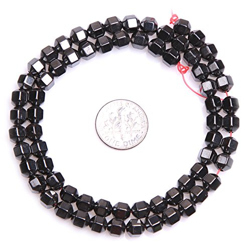Black Hematite Beads for Jewelry Making Natural Gemstone Semi Precious 6mm Faceted Magnetic 15