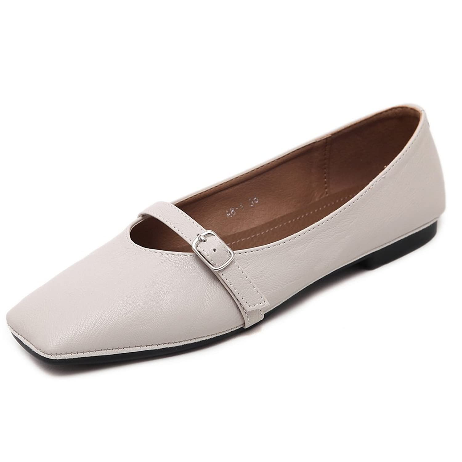 AdeeSu Womens Buckle Low-Cut Uppers Square-Toe Urethane Flats Shoes