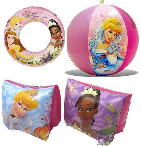 Disney Princess Beach Fun Swimming Set Includes Inflatable Swim Ring, Arm Floats & Beach Ball (Float Fun Princess)